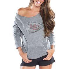 Cuce Fleece Kansas City Chiefs Ladies Crystal Side-liner Sweatshirt - Gray