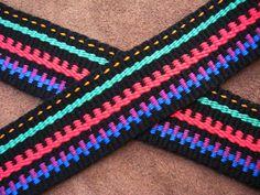 Asymmetrical patterns in inkle weaving. ASpinnerWeaver