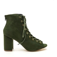 GREEN Set To Launch Faux Suede Lace-Up Booties (€36) ❤ liked on Polyvore featuring shoes, boots, ankle booties, ankle boots, green, lace up bootie, lace up boots, lace up high heel booties, faux suede boots and peep toe bootie