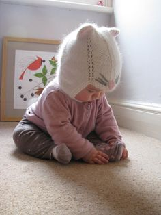 Children  cashmere hat  white kitty boutique quality by ElleGanT, $45.00. cute kid too. ; )