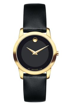 Movado Women's Museum Classic Watch with Strap 0606877. This classic gold PVD-finished stainless steel women's watch features a 28mm case with signature Movado black museum dial with tone on tone oute