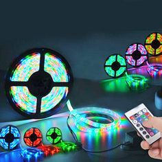 This 5 meter light strip features 300 LED lights that emit combination of RGB lights, using the included remote control! Led Light Strips, Led Strip, My New Room, My Room, Bedroom Lighting, Bedroom Decor, Kids Bedroom, Neon Bedroom, Closet Bedroom