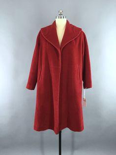 Vintage 1950s Red Charmosa Wool New Look Swing Coat