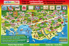 Pictures of the town of Puerto Viejo de Talamanca | Mapa guia de Puerto Viejo de limon, Caribe Sur, Costa Rica con ...