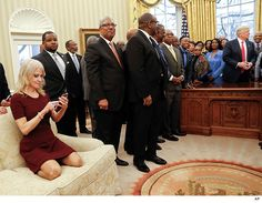Kellyanne Conway Kneels On Oval Office Couch For Trump's HBCU Photo (PHOTOS) - http://blog.clairepeetz.com/kellyanne-conway-kneels-on-oval-office-couch-for-trumps-hbcu-photo-photos/