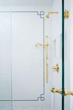 Amie Corley Interiors (House of Turquoise) Bathroom Kids, Small Bathroom, White Bathrooms, Luxury Bathrooms, Bathroom Inspo, Dream Bathrooms, Border Tiles, White Subway Tiles, House Of Turquoise