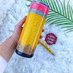 Excited to share this item from my #etsy shop: Custom Personalized Glitter Pencil Tumbler   Teacher Appreciation Gift   Gift for Teachers   Back to School