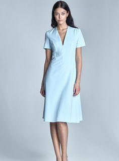 5e06b259f8379 Robe femme habillée bleu pastel manches courtes mode chic S71 Nife #habill
