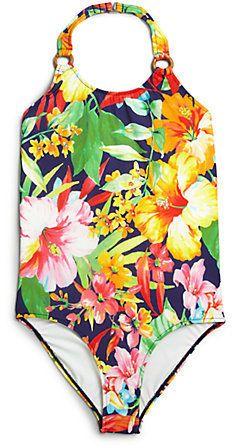 Ralph Lauren Girl's Floral Print One-Piece Swimsuit Original price: $59.50 - Sale price: $29.75