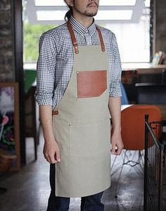 Premium Gift for woman and man Chef Works Handmade by Cozymomdeco Cafe Uniform, Cafe Menu Design, Shop Apron, Industrial Aprons, Leather Apron, Uniform Design, Linen Apron, Apron Designs, Artificial Leather