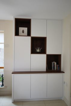 SM Wood Design manufactures and designs bespoke cabinetry and furniture for your home and business. Call us today for a quote for wardrobes, alcove units, kitchens, furniture. Cabinetry, Modern Shelving Units, Room Divider, Furniture, Shelves, Shelving Unit, Modern, Home Decor, Wood Design
