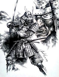 samurai by dikeruan on DeviantArt Japanese Drawing, Japanese Tattoo Art, Japanese Warrior Tattoo, Bild Tattoos, Body Art Tattoos, Sleeve Tattoos, Samurai Drawing, Samurai Artwork, Samurai Warrior Tattoo