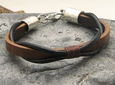 EXPRESS SHIPPING Men's leather bracelet Brown and black leather braided , bangle…