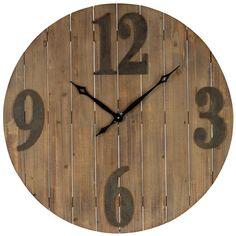 "36"" Worn Gray on Wood Clock"