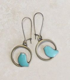 TURQUOISE bronze BIRd earrings faux patina FREE by dreamspirit, $16.00