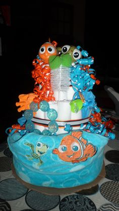 First Attempt At A Diaper Cake U003d Success. Finding Nemo Theme For A Friendu0027s  Baby