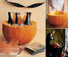 Pumpkin + bowl + ice + drinks (Used this idea 10/30/2011 for buffet table.)
