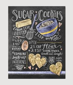 We make our sugar cookies in the shape of hearts because we absolutely love this recipe! If sweet and simple sugar cookies are your favorites, this hand illustrated recipe design will be too! ♥ Our fi Easy Sugar Cookies, Sugar Cookies Recipe, Cookie Recipes, Baking Cookies, Chalkboard Print, Chalkboard Signs, Chalkboards, Kitchen Chalkboard, Chalkboard Calendar