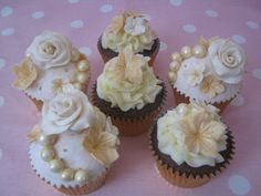 Cream and Gold Vintage Style Rose and Lace Cupcakes