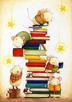 Love this illustration of mice on stack of books.