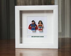 Superheroes Framed Mini Figures Superman & Wonder Woman made from Lego