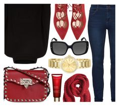 """""""Swing"""" by jomashop ❤ liked on Polyvore featuring Jaeger, Banana Republic, Christian Dior, Invicta, Clarins and red"""