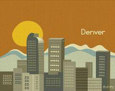 Denver, Colorado Skyline and Rocky Mountain Destination Poster - Travel Art for Home, Office, and Nursery - style -  E8-O-DEN