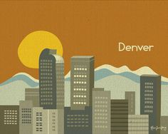 Denver Colorado Skyline and Rocky Mountain by loosepetals on Etsy, $26.00