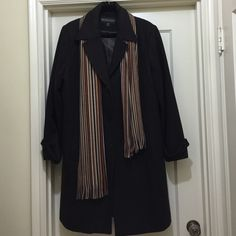 Lambswool Blend Coat & Acrylic Scarf Coat - 62% Lambswool, 30% Polyester, 8% Rayon. Fully lined with 100% Polyester. Two pockets outside, one inside. Very good condition. Dry Clean only. Scarf - 100% Acrylic, multi- color. See 4th photo for close-up. Kristen Blake Jackets & Coats