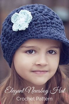 Crochet Pattern - An incredibly elegant crochet newsboy hat pattern that features a pretty shell stitch design and optional crochet flower pattern. Includes multiple sizes. By Posh Patterns.