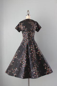 Vintage 1950s Black Floral Dress