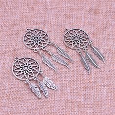 PULCHRITUDE 10pcs/lot Vintage Silver Tree Feather Dream Catcher Charms for Jewelry Making Diy Metal Dream Catcher Charms T0581