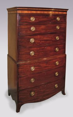 A late 18th Century George III period figured mahogany bow-fronted Tallboy of attractive small proportions, having moulded & kingwood crossbanded cornice above 7 cockbeaded drawers supported on splay-leg base with shaped apron. Circa: 1780 Ref: 4512