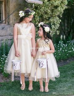 Hot Sale Wedding Flower Girl Dresses with Sparkly Gold Sequins Tea Length Tutu Jewel Neck 2016 Cheap Girls Pageant Dresses Kids Party Gowns Online with $64.69/Piece on Sweet-life's Store | DHgate.com