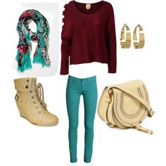 """burgundy outfit"" by vivi-marroquin on Polyvore"