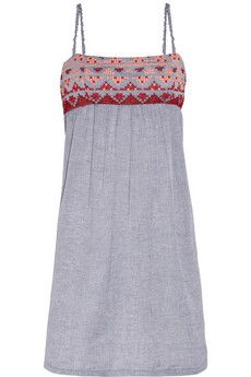 Vanessa Bruno Athé - embroidered cotton-chambray dress