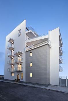 white architecture, catania building, la vela