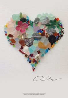 Sea Glass Fine Art Heart Poster Great Anniversary, Birthday Valentine's Day Gift More