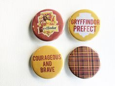 Gryffindor button pin set // button badges // by cassidynoga