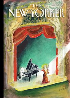 "The New Yorker - Monday, March 2010 - Issue # 4348 - Vol. 86 - N° 4 - Cover ""In the Spotlight"" by ""Sempé"" - Jean-Jacques Sempé The New Yorker, New Yorker Covers, Music Illustration, Illustrations, Kafka On The Shore, Thing 1, Magazine Art, Magazine Covers, All Poster"
