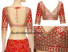 Beautiful raw silk gota patti work designer blouse featuring elbow length sleeves and deep back neck with simple tie up tassels, for or / SouthIndiaFashion com Celebrity Sarees, Designer Sarees, Bridal Sarees, Latest Designs via Stylish Blouse Design, Fancy Blouse Designs, Bridal Blouse Designs, Blouse Neck Designs, Blouse Patterns, India Fashion, Women's Fashion, Ethnic Fashion, Work Blouse