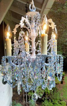 Vintage Pale Blue Petite Crystal Chandelier, Baby Blue Chandelier, Vintage…