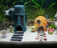 The SpongeBob Aquarium Set features Spongebob, Patrick, Gary, Mr. Krabs, Plankton, Sandy, and Squidward! And also their respective houses! P...