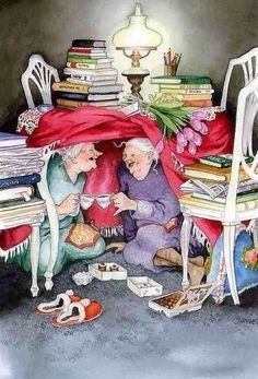 """"""" ~ Never Had Such A Laugh Over An Afternoon Tea ~ C.Crystal~ Illustrator: Inge Look~ Growing Old Disgracefully❤ Illustrator, Pics Art, I Love Books, Read Books, Old Women, Old Ladies, Make Me Smile, Tea Party, Book Art"""