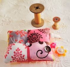 Cute Pin Cushion in Floral Dots with Vintage Buttons Pinks Greens Brown on Etsy, $14.00