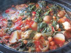 Espinacas con garbanzos al curry en Crock Pot