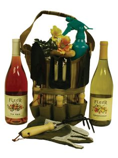 Garden Wine Gift Tote   Item Number: 2010051183 The Fleur Chardonnay comes from several vineyards in the California hills, creating a wine that combines opulent fruit with wonderful richness. Enjoy with appetizers, crab cakes, shrimp, pasta or similar fare. Includes a bottle of Fleur Chardonnay Wine and Fleur Vin Gris Wine packed in a canvas garden tote with 5 garden tools, water sprizter bottle and garden gloves.