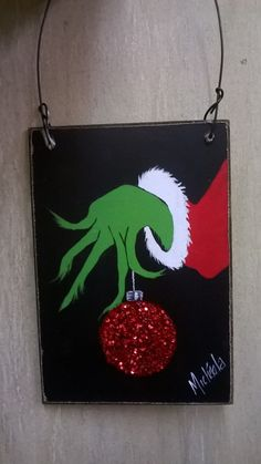 - Walling Hanger Ornament - 3x5 - Hand Painted by Artist and printed using decoupage - Waverly, Ohio Artist A wonderful additional to any Christmas Tree! Great gift for any Dr. Seuss fan, too!