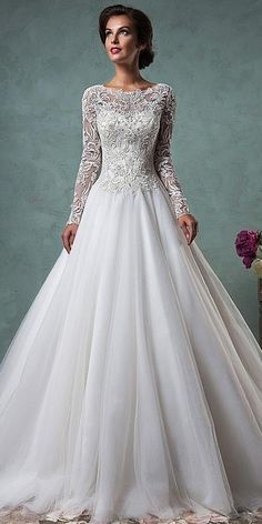 6794f3698233  184.79  Gorgeous Tulle Bateau Neckline A-line Wedding Dresses with Beaded  Lace Appliques - dressilyme.co