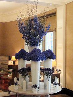 The Connaught Hotel Wedding Stage Decorations, Flower Decorations, Bedroom Entertainment Center, Hotel Flower Arrangements, Connaught Hotel, Jeff Leatham, Hotel Flowers, Blue Centerpieces, Corporate Flowers
